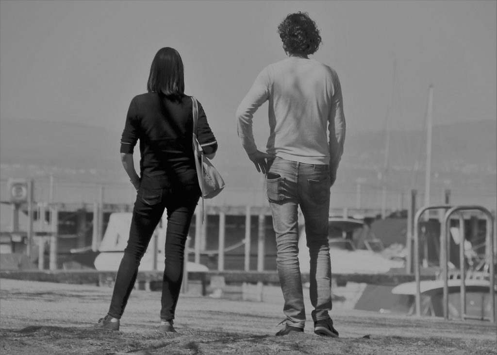 black and white, past, he and she